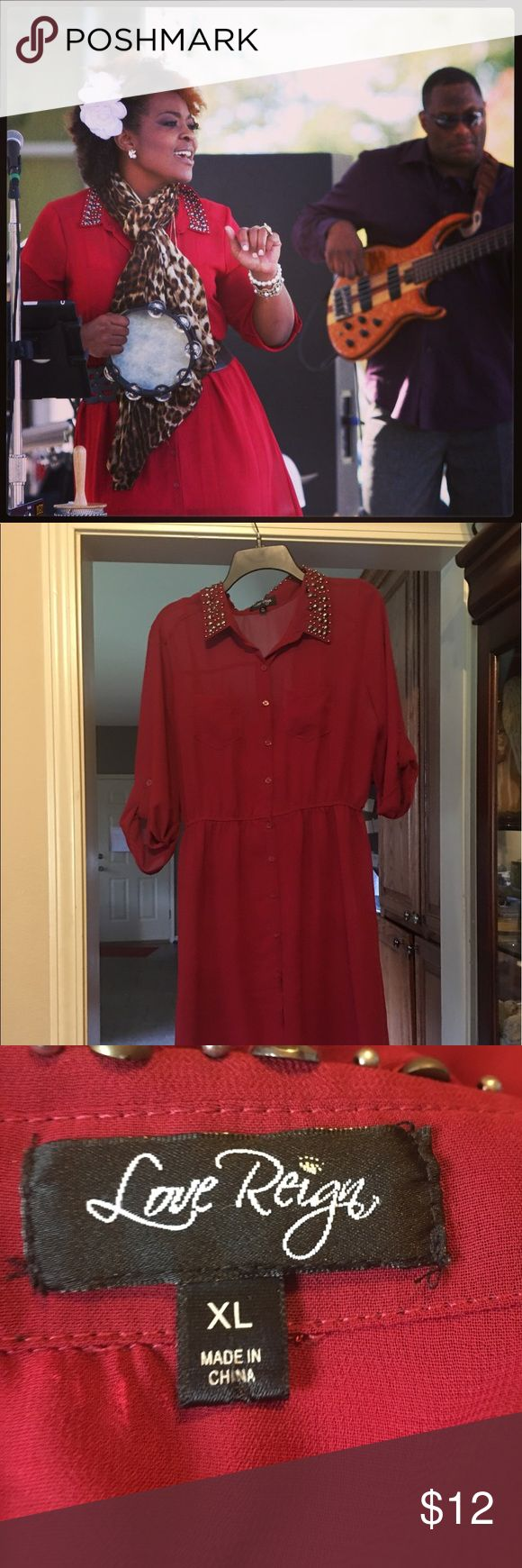 Red shirt dress with stud accent on collar High low shirt dress with studded collar. Sheer sheets over shell. Dresses High Low