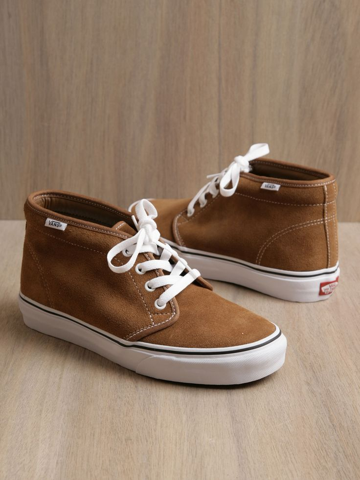 Vans tan suede chukka boot. I would change the laces to match the shoe and spray with a water resistant product