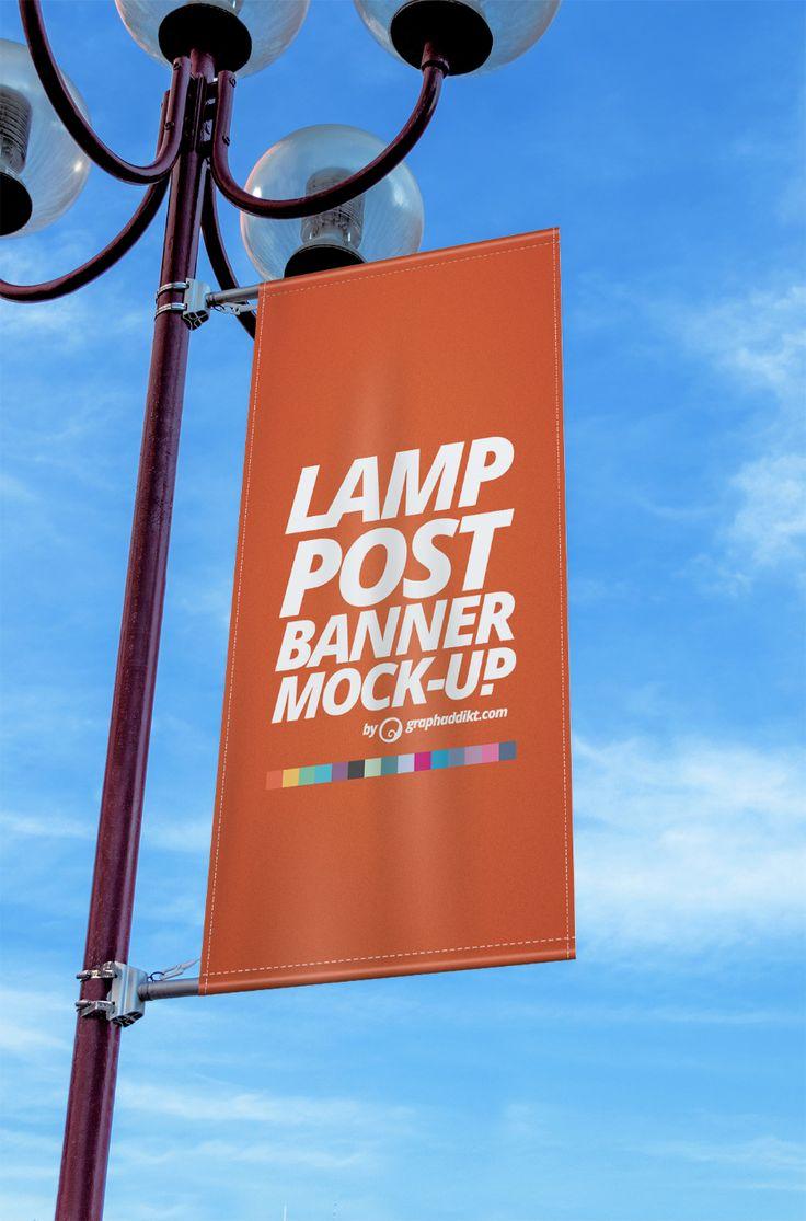 Free Lamp Post Banner Mockup (15.19 MB) | By graphaddikt on Free Design…