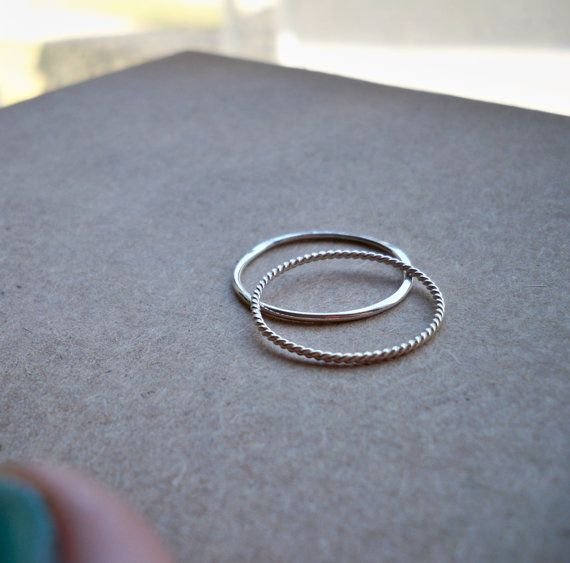 Set of 2 Contrasting 18g Thin Sterling by HomegrownSilverStone