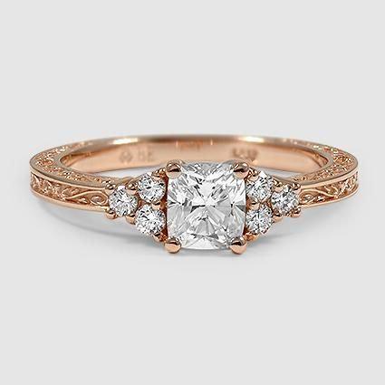 14K Rose Gold Adorned Trio Ring // Set with a 0.70 Carat, Cushion, Ideal Cut, E Color, VS1 Clarity Diamond #BrilliantEarth