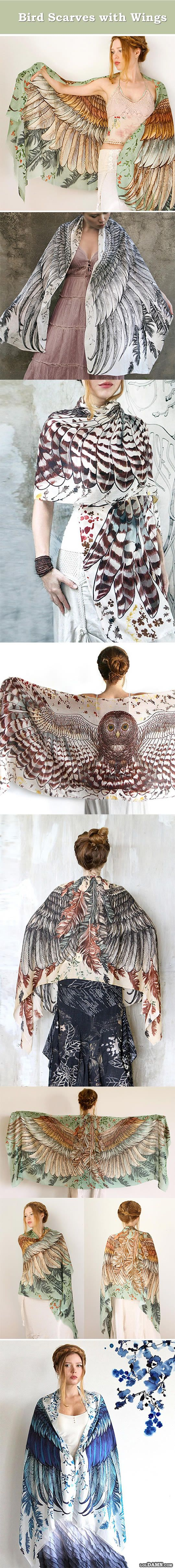Bird scarves with wings, very old concept beautifully done.