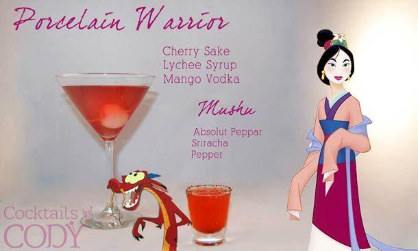 """Cocktail Mulan """"Le guerrier porcelaine"""" Saqué cerise, sirop de lychee, voldka mangue.  Cocktail """"Mushu""""  Peppar absolut, Sriracha, Poivre"""