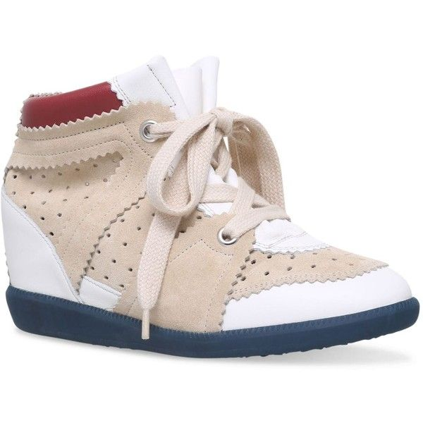 Isabel Marant Leather Betty Wedge Sneakers 50 (€470) ❤ liked on Polyvore featuring shoes, sneakers, hidden wedge heel sneakers, hidden wedge sneakers, genuine leather shoes, wedge trainers and leather sneakers