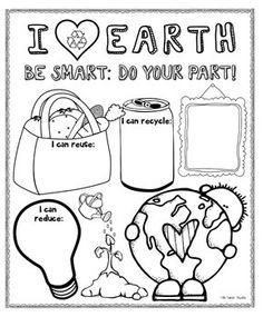 Earth Day poster (boy and girl) for bulletin boards - have students draw/write…