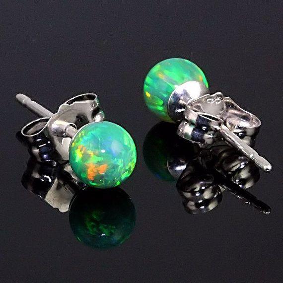4mm Australian Margarita Kelly Green Opal Ball Stud Post Earrings 14K White or Yellow Gold