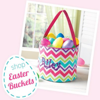 Monogrammed Easter Baskets  Easter Buckets by TCPassionateStitches