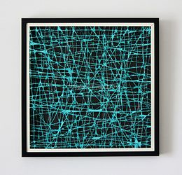 The Paperer Wired Collection  Colour: Teal Artwork Size: 52.5cm x 52.5cm x 4.5cm