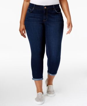 Jessica Simpson Trendy Plus Size Royal Wash Cuffed Skinny Jeans - Blue