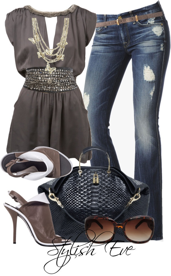 I love the shirt and belt on this one, but I do not like the distressing on the pants or the bag, necklace, shoes or sunglasses.