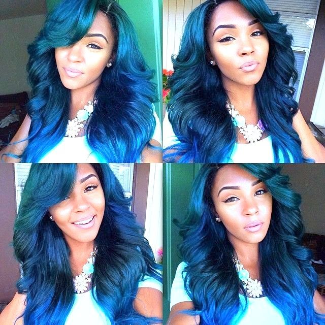 green blue hair that looks shiny black african american