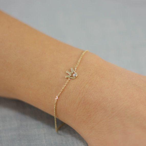 Crown bracelet 14k solid gold white diamond by KyklosJewelryLab