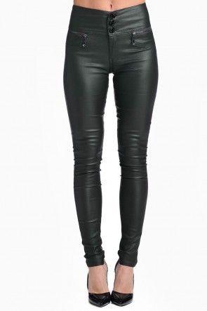 Paris High Waisted Wax Look Trousers in Khaki