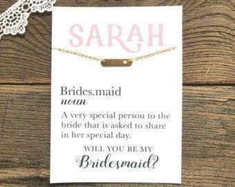 Brautjungfer Halskette ~ Brautjungfer Geschenk ~ werden Sie meine Brautjungfer ~ Brautjungfer Vorschlag ~ Tag Halskette