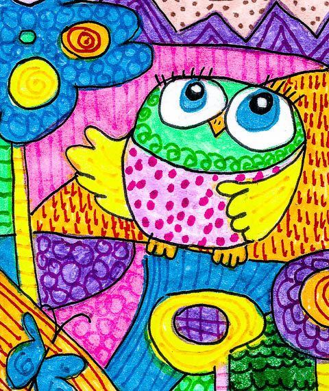 Nursery Room Decor, Owl Art Print, Children's Wall Art, Green And Pink, Owl Print, Baby Room Decor, Owl's Journey by Paula DiLeo_2613