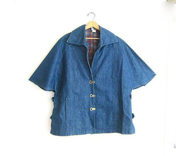 Cape manteau de denim vintage. Poncho Cape par dirtybirdiesvintage