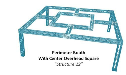 Perimeter Show Booth with Overhead suspended Square