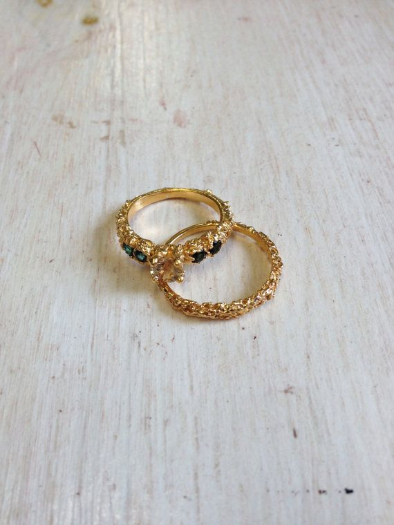 14k Gold Engagement Ring and Wedding Ring by MichelleOhJewellery, £1280.00