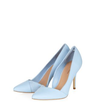 Something borrowed, something blue.These Pale Blue Asymmetric Pointed Court Shoes would complete a wedding outfit beautifully.