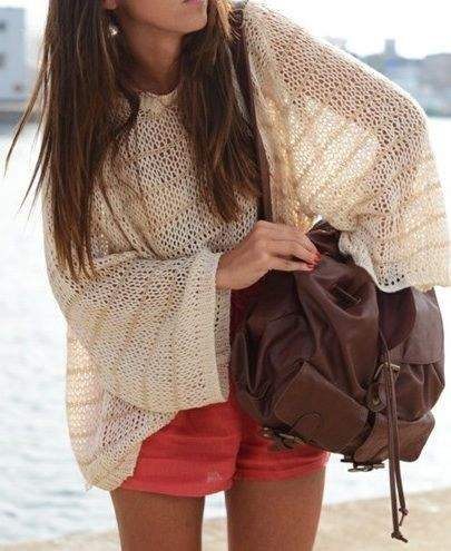 Cute vacation outfit!  #oversized #sweater #knits #style #relaxed #comfy #weekend #casual #onthego #bag #shorts #summer #beach #vacay #top #clothes