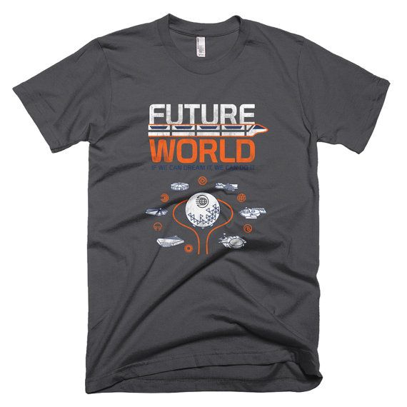 1982 Future World Map Design EPCOT Center T-Shirt, If We Can Dream It, We Can Do It - A Retrocot Original  This retro EPCOT shirt reads: Future World - If we can dream it, we can do it  This classic Future World Map is printed on the front of the shirt, so as youre waiting in line for Kitchen Kabaret, anxiously awaiting a musical review and comedy format that advocates healthy eating and provides a primer on the four food groups: meat, dairy, grains and fruits/vegetables, you can look do...