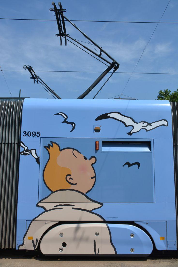 BELGIUM | Tram Tintin | Line 92 at the Poelaert terminus in Brussels