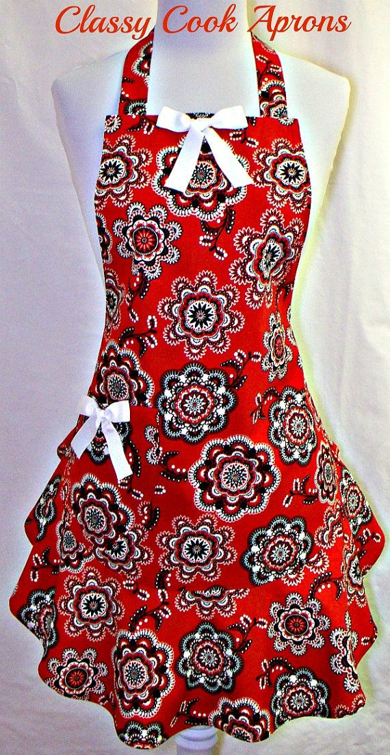 "Apron Red White & Black Bandana Print ""Way Out West"" by ClassyCookAprons, $33.50"