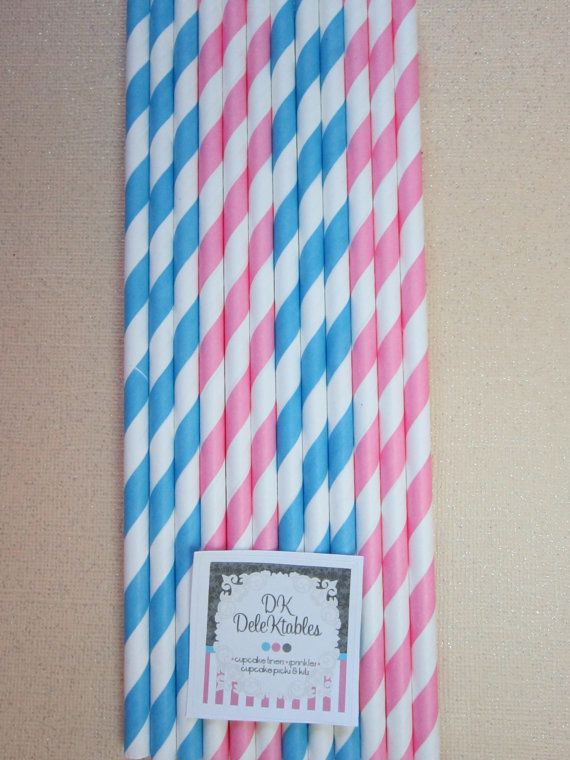 24 Pink & Blue  Gender Reveal Striped Straws by DKDeleKtables