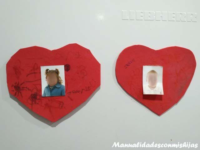 Manualidades con mis hijas: Corazones de goma eva con iman para el frigorífico