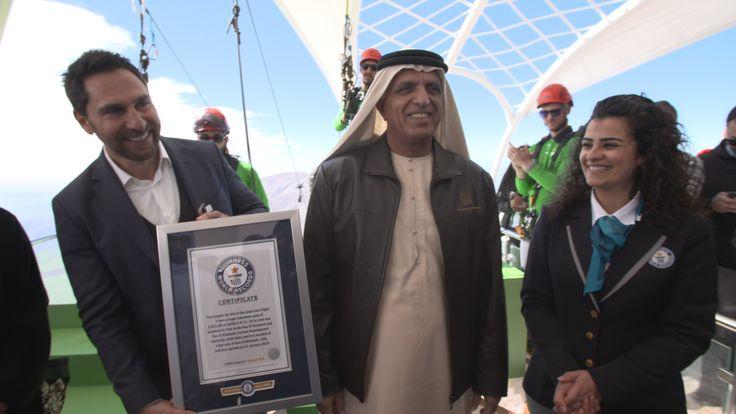 Guinness World Records honours Ras Al Khaimah with World's Longest Zipline - Sheikh Saud Bin Saqr Al Qasimi, ruler of Ras Al Khaimah, was presented with the prestigious honour earlier today - title | News - Maple Leaf Travel King