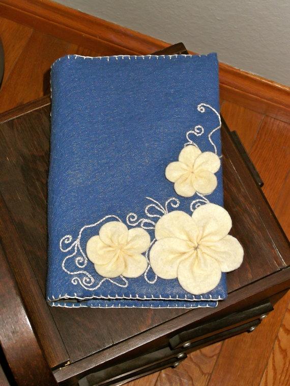 Blue and Cream Felt Flower Book Cover