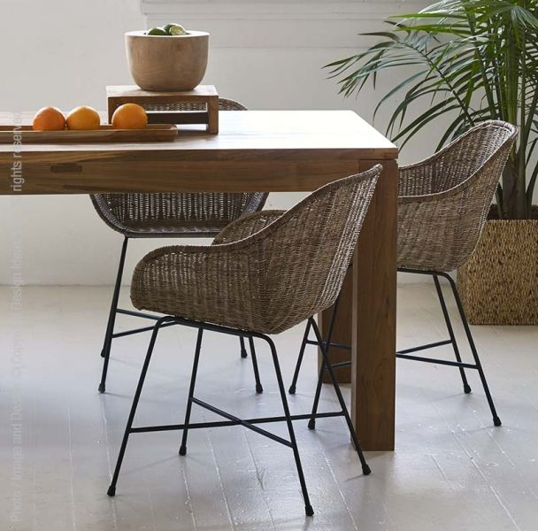 Natural and modern aesthetics are woven seamlessly together in our Ormond™ chairs. Hand woven rattan takes on a classic midcentury-modern shape in the seat, while the matte black iron legs add an industrial accent. These versatile chairs are as appropriate around a formal dining table as in a casual patio setting. Natural rattan should not be left exposed outdoors when not in use. To clean, vacuum any dust or particles with a soft brush attachment and wipe clean with a soft, damp cloth…