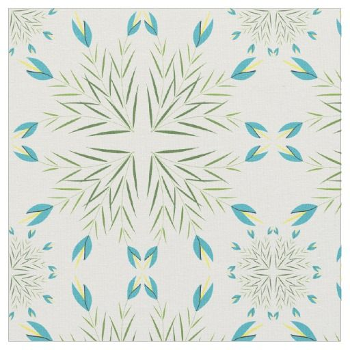Aqua blue stylized lilies with leaves floral pattern fabric. #fabric #floral