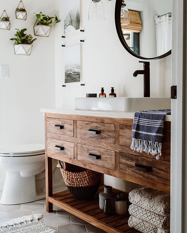 One Of The Most Asked About Items In Our Home Is Our Guest Bathroom Vanity I Always Feel Like I Let You Gu Wood Bathroom Vanity Rustic Bathrooms Wood Bathroom
