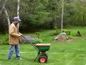 LAWN CARE: April (when snow melts away)- Crabgrass Preventer +Fertilizer. early May (temp is 12degrees consistently for a week)-soil and seed. May 24/Jun- fertilize. mid Jul- Fertilize w/ Summer Guard. Oct (when all leafs have fallen)- Scotts Turf Builder Winter Guard Fall Lawn Fertilizer