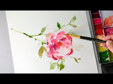 How to paint a rose easy in watercolor - JayArt - YouTube