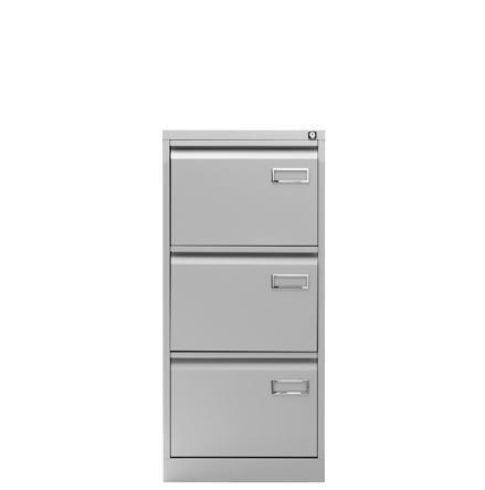 Classificatore verticale classico a 3 o 4 cassetti, in metallo grigio