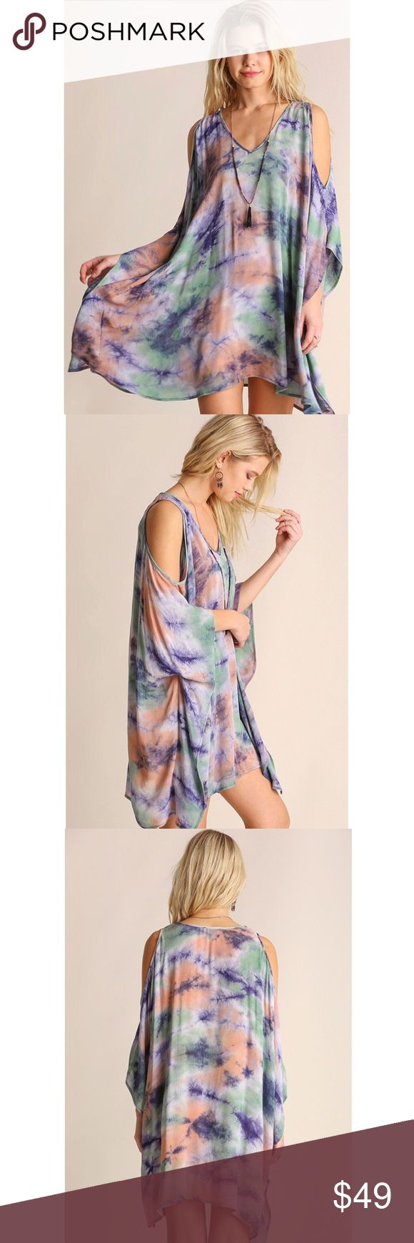 🆕 Just in! Festival poncho dress! Festival poncho dress in tie dye! Shoulder cut out. 55% cotton and 45% polyester. The perfect festival, vacation, beach, pool, and/or Sunday funday dress! 🌼🌈🌻☀️🌎💐 Dresses