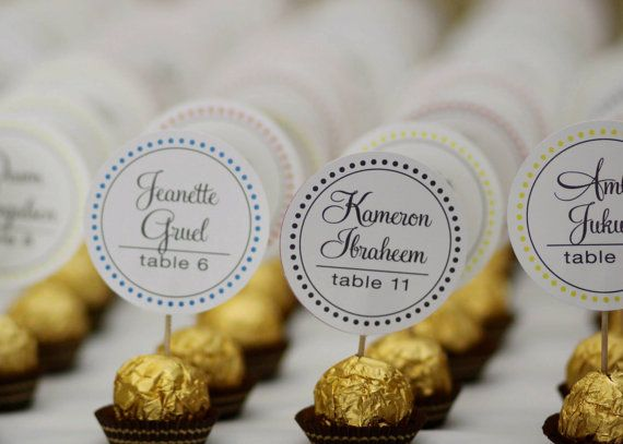 Unique Wedding Reception Ferrero Rocher Chocolate Candy Truffles Truffle Escort Place Cards, placecards, guest name party favors gold silver by DesignsByDirection on Etsy https://www.etsy.com/listing/191816337/unique-wedding-reception-ferrero-rocher