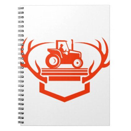 White Tail Deer Antler Tractor Retro Notebook  $15.40  by retrovectors  - cyo diy customize personalize unique