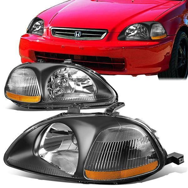 96 98 Honda Civic Headlights Black Housing Amber Corner Honda Civic Honda Civic Headlights Honda