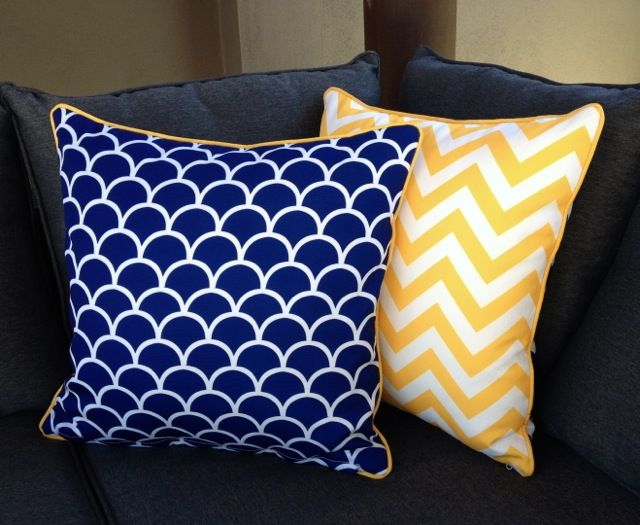 Mykonos #Blue and #Yellow matching outdoor cushions bring your outdoor entertaining area to life! Get the whole set - chevrons, fishscales and stripes - #reversible, #UVtreated #mildewproof #waterproof available online at www.beachabodeliving.com.au