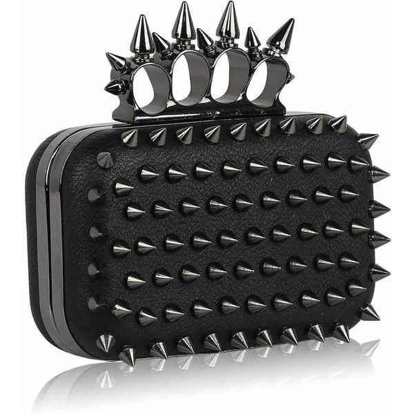 Wholesale- Black Punk Spike Skull Ring Clutch Purse (135 ZAR) ❤ liked on Polyvore featuring bags, handbags, clutches, knuckle ring, spike, wallets, skull purse, skull handbag, spiked purse and punk purse