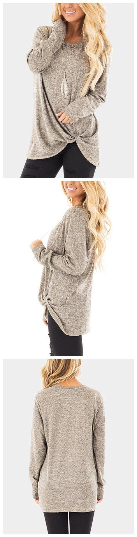 Taupe Crossed Front Design Plain Round Neck Long Sleeves T-shirts