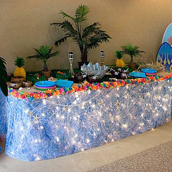 this luau banquet table will make your luau decorations complete with hawaiian style - Luau Decorations