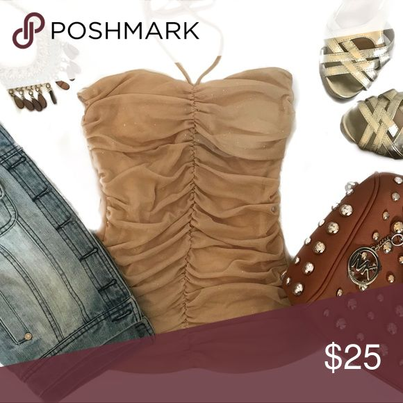 Sexy ruched tan body central stretch sparkle top Super sexy sparkle body central tan halter top! Ruched for a super flattering fit 💗 sexy tone for fall 🍁🍂 dress it up with a faux leather jacket or down with a cute cropped denim! Size medium Body Central Tops