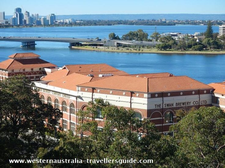 The Old Swan Brewery on the banks of the Swan River, viewed from Kings Park, Perth.