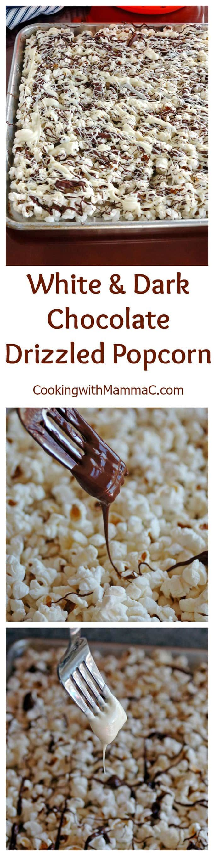 White and Dark Chocolate Drizzled Popcorn - irresistible and addictive!