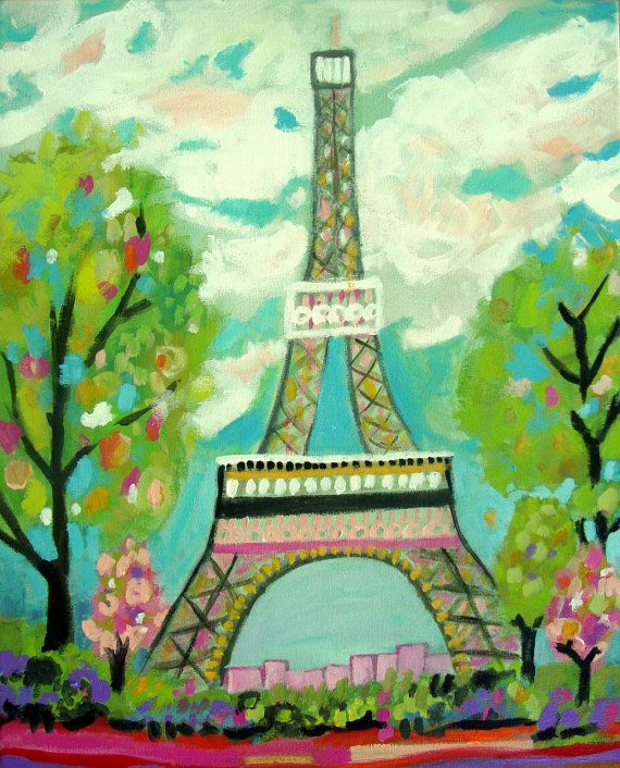 Abstract Eiffel Tower Painting Original by Karen Fields 16 x 20 Pink Landscape