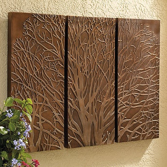 Bronze and Copper Wall art - diy with terra cotta. - Wonder if I could do this with the hot glue/tinfoil/shoe polish idea, only spray paint the tin foil before putting on the shoe polish.